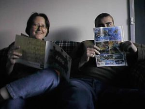 Sue Ann Barber and Paul Baulch looking at old LEGO catalogues at the first MUGs meeting, October 8th, 2000. Photo by Ross Crawford