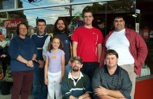 MUGs Meeting for the Star Wars Episode 2 Launch at OzBricks in Avondale Heights, 28th April 2002. Featured in the photo are: Sue Ann Barber, Ben Whytcross, Martin Scragg (and daughter), Paul Baulch, George Georgiou, Travis Matheson and Kane Smith. Photo by Ross Crawford